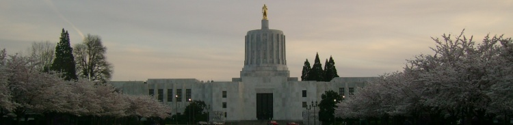 The Oregon Capitol in spring