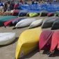 rows of canoes